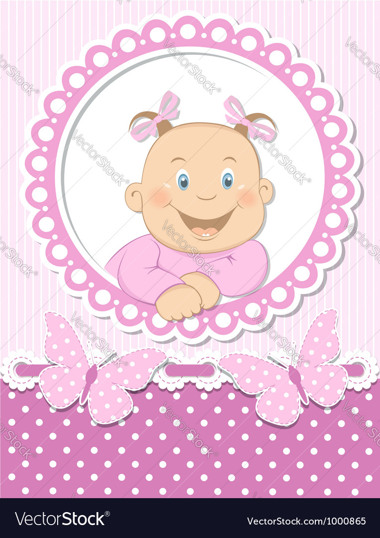 Happy baby girl scrapbook pink frame vector | Price:  Credit (USD $)