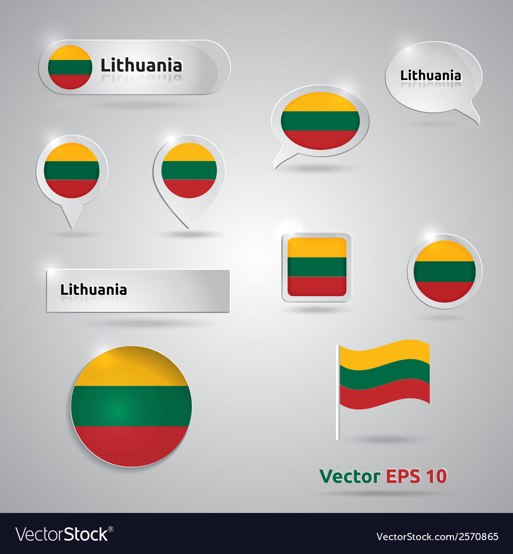 Lithuania icon set of flags vector | Price: 1 Credit (USD $1)