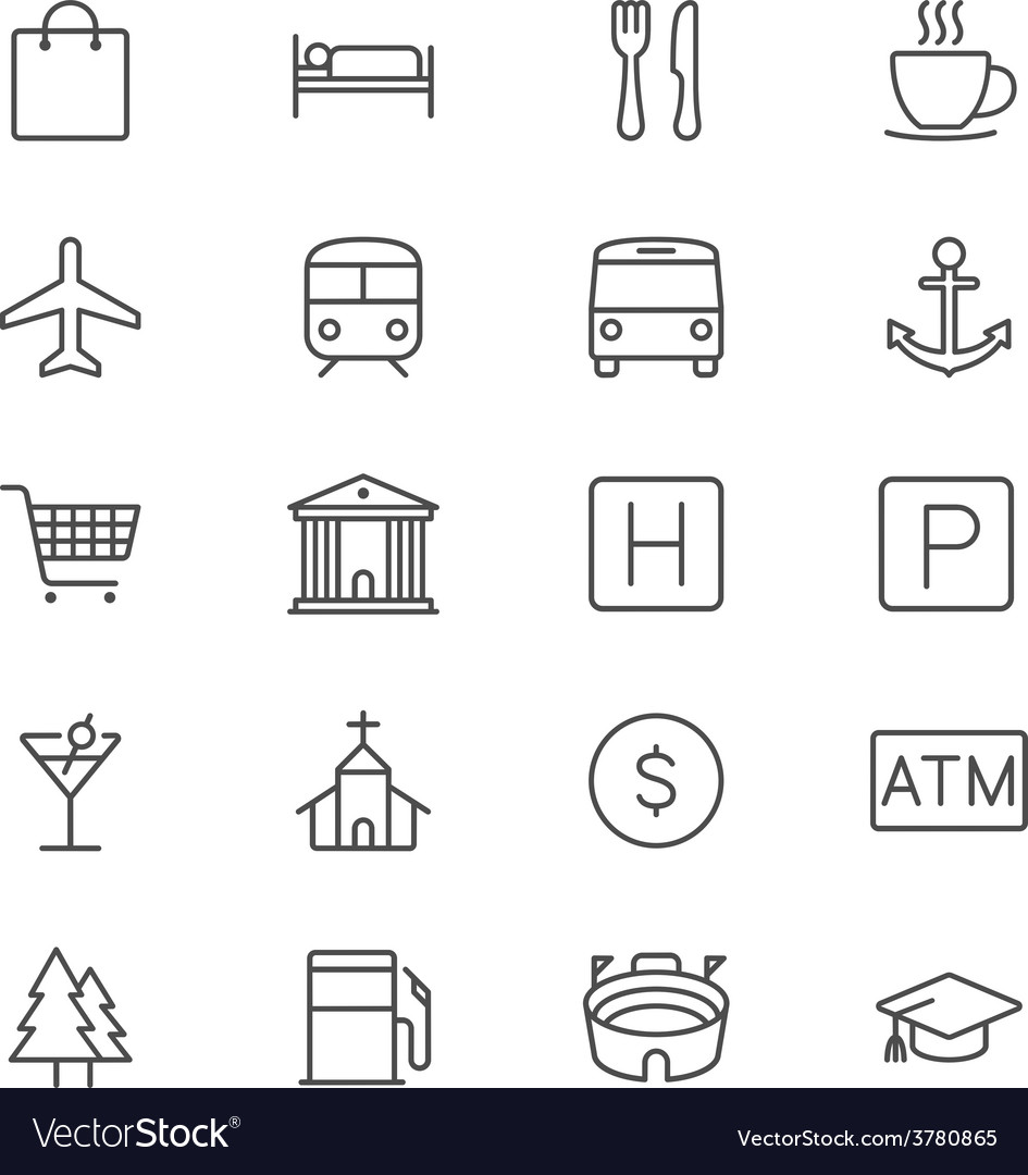 Map and location thin icons vector