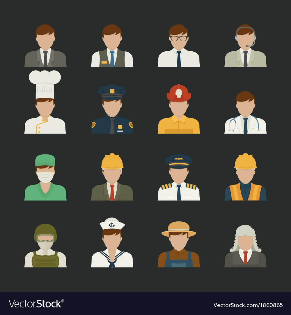 People icon professions icons worker set vector | Price: 1 Credit (USD $1)