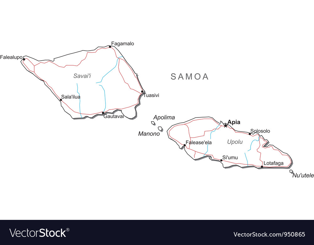 Samoa black white map vector | Price: 1 Credit (USD $1)