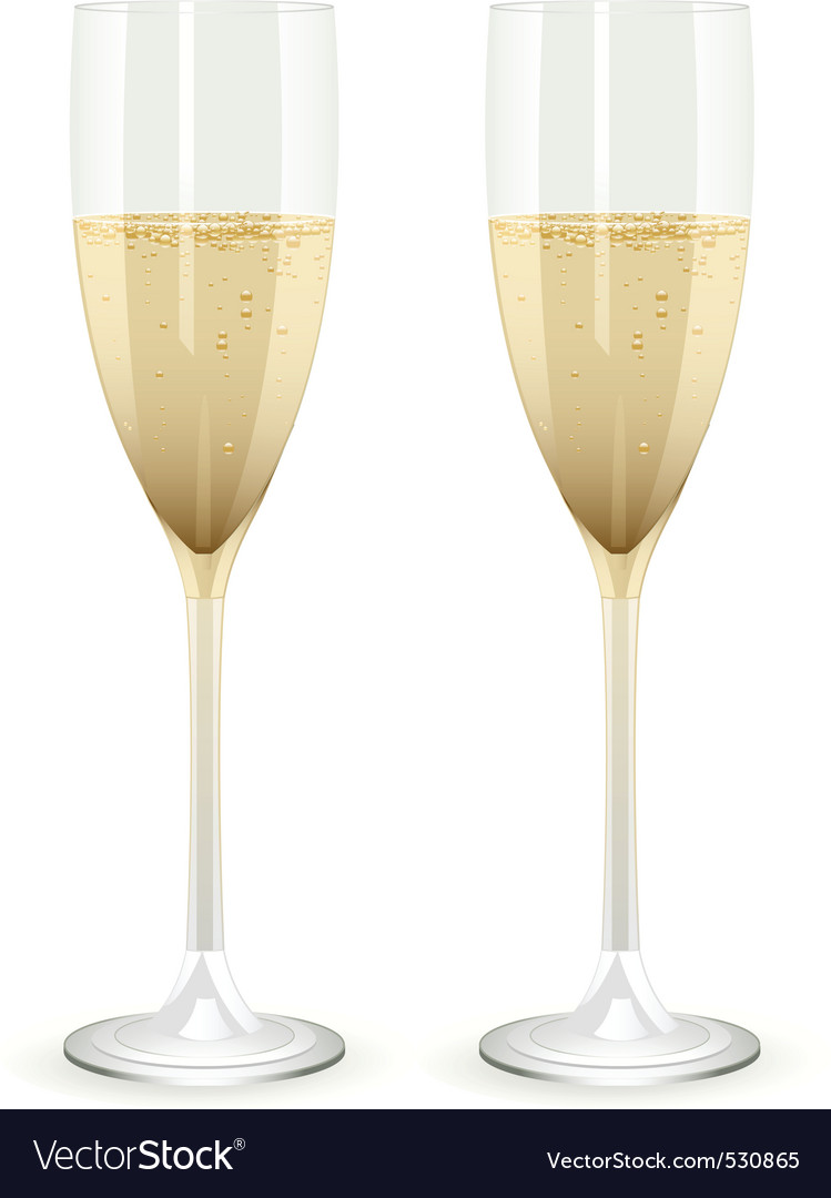 Two champagne glasses filled with champagne on a w vector | Price: 1 Credit (USD $1)