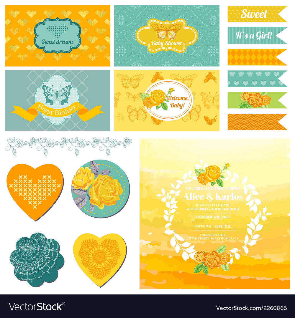 Baby shower or party set - vintage butterfly theme vector | Price: 3 Credit (USD $3)