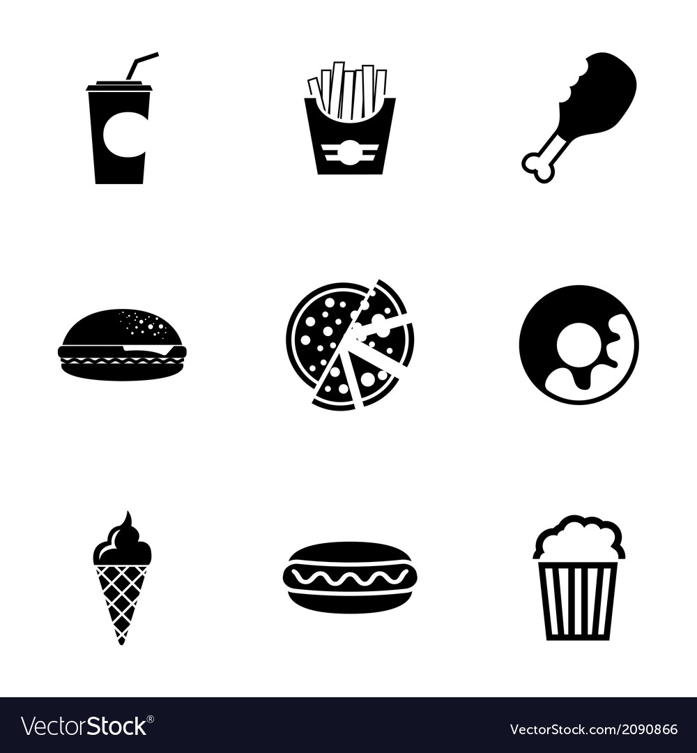 Black fast food icons set vector | Price: 1 Credit (USD $1)