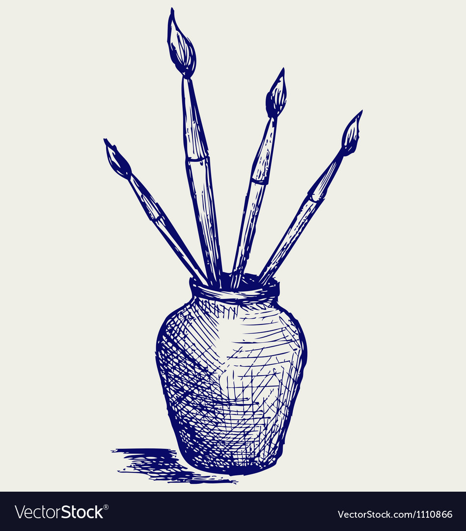 Brushes in vase vector | Price: 1 Credit (USD $1)