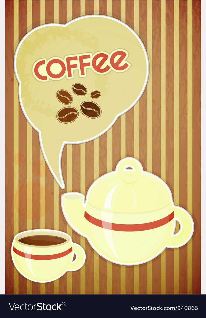 Coffee cup and coffee pot vector | Price: 1 Credit (USD $1)