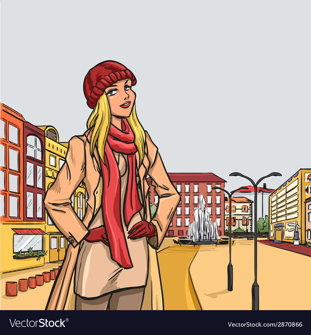 Elegant blonde woman after shopping in autumn city vector | Price: 3 Credit (USD $3)