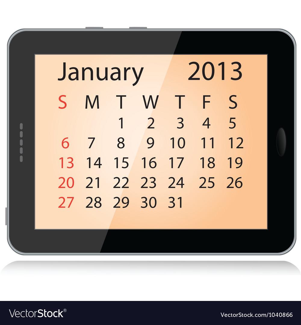 January 2013 calendar vector | Price: 1 Credit (USD $1)