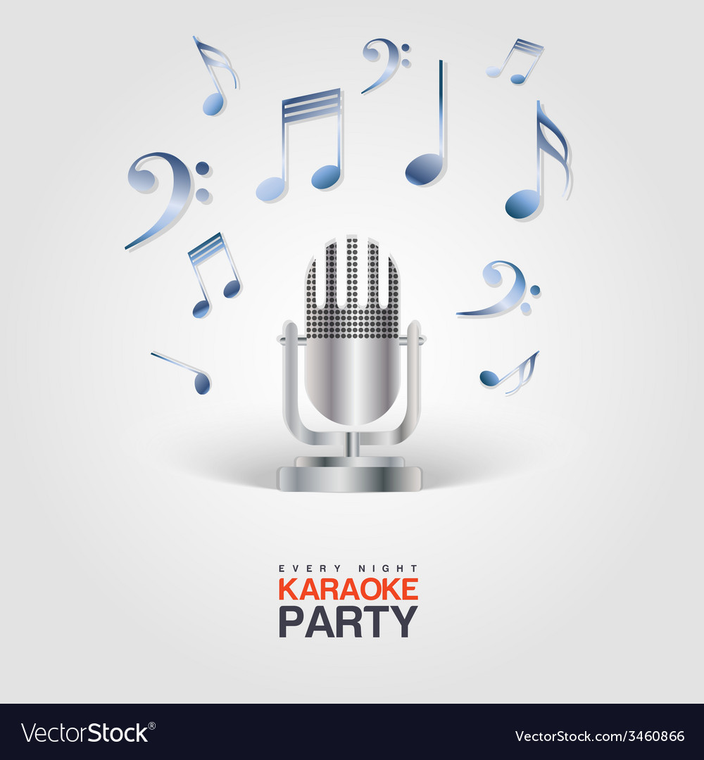 Karaoke party poster with microphone and musical vector | Price: 1 Credit (USD $1)