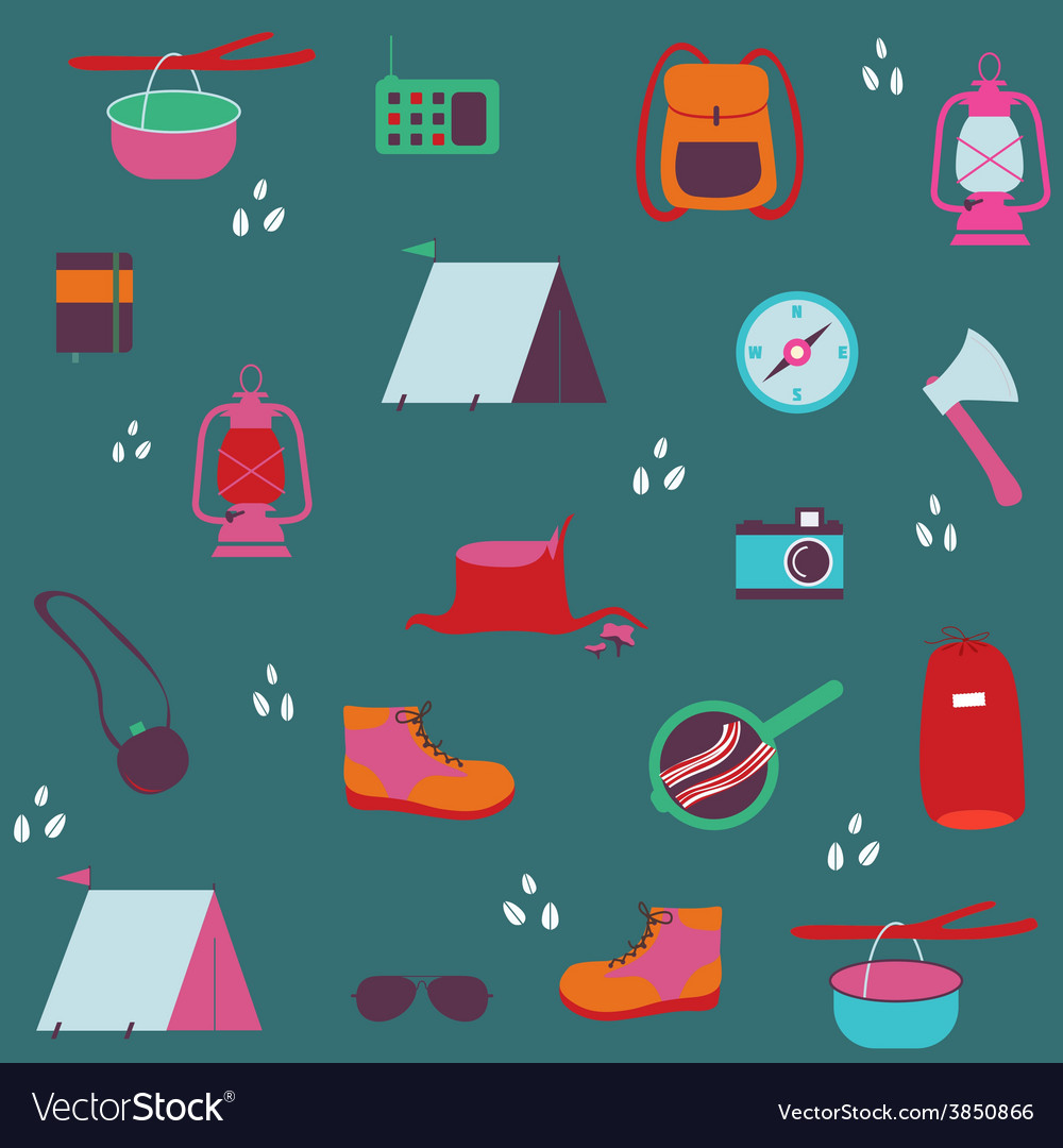 Seamless pattern with traveler objects vector | Price: 1 Credit (USD $1)