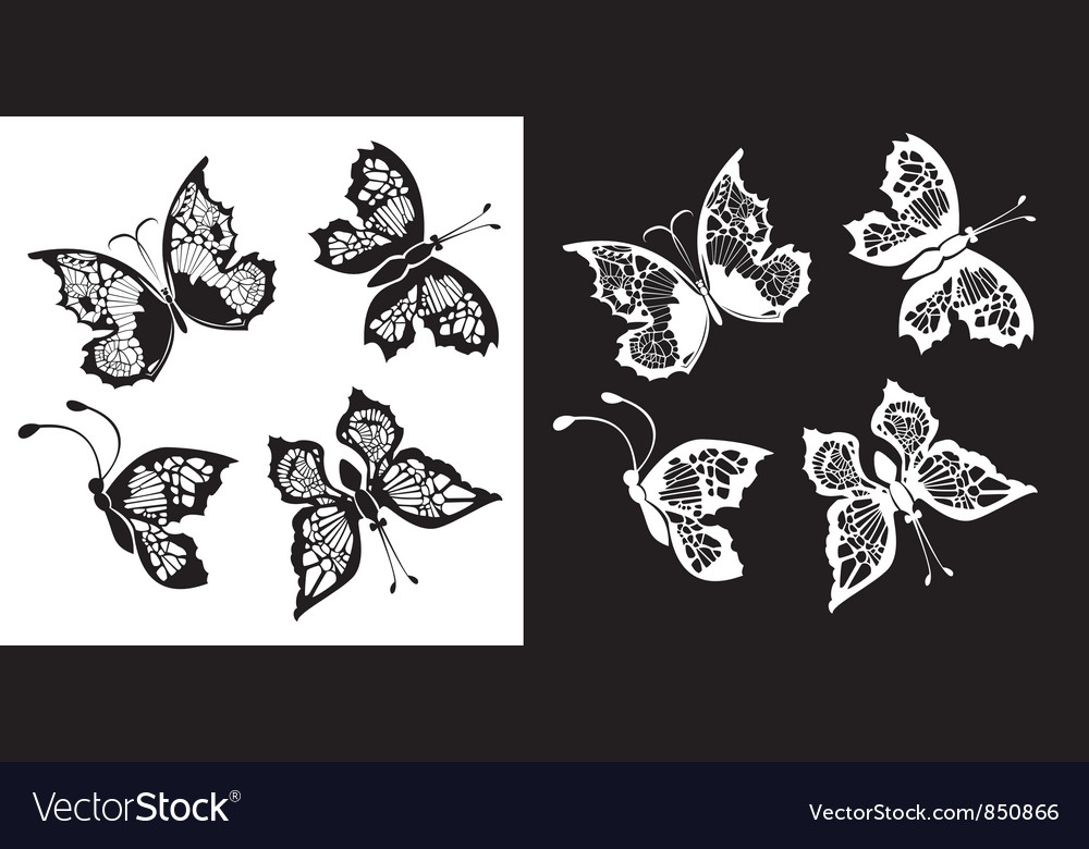 Set of silhouette butterflies collection vector | Price: 1 Credit (USD $1)