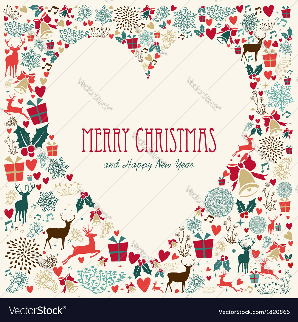 Vintage merry christmas love heart card vector | Price: 1 Credit (USD $1)