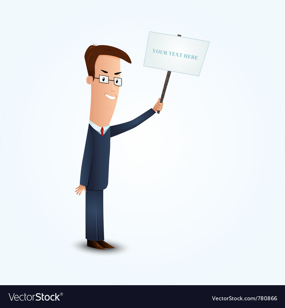 Young business man holding signboard vector | Price: 3 Credit (USD $3)