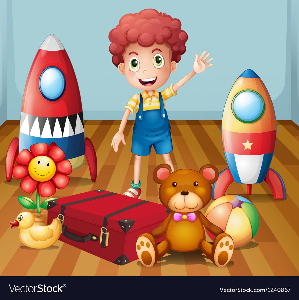 A young boy with his toys inside the room vector | Price: 1 Credit (USD $1)