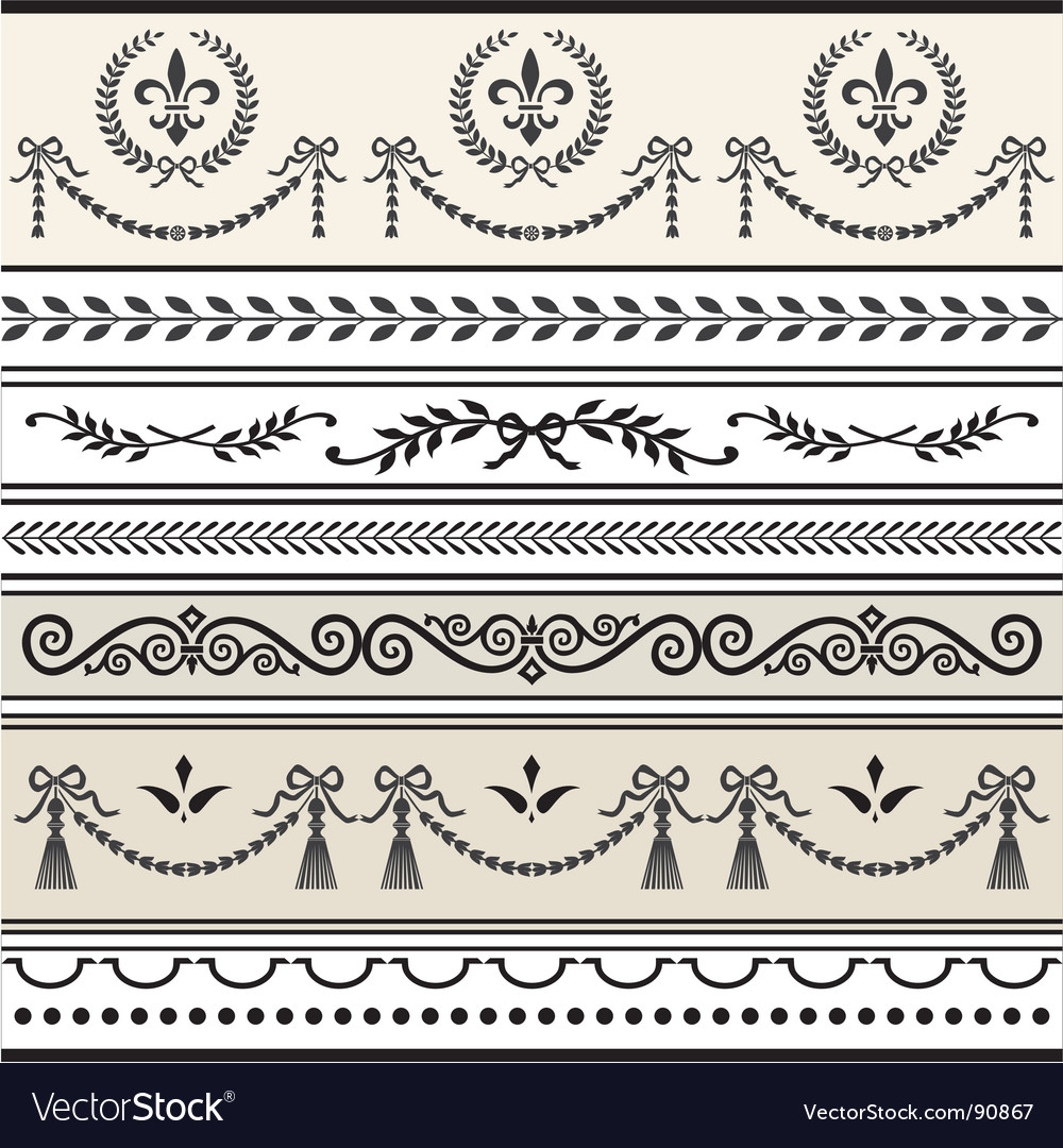 Antique scroll borders vector | Price: 1 Credit (USD $1)