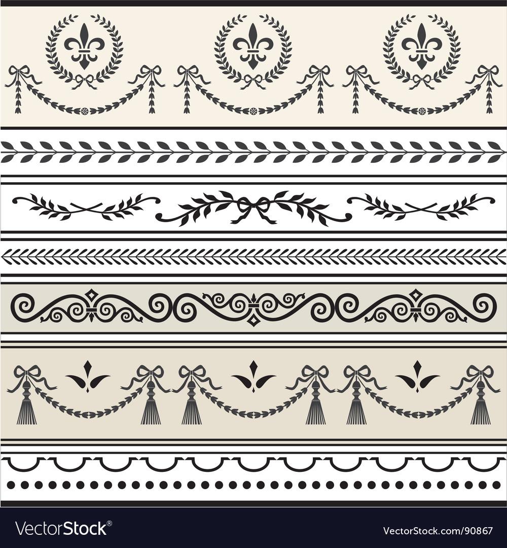 Antique scroll borders vector | Price: 1 Credit (USD $1)