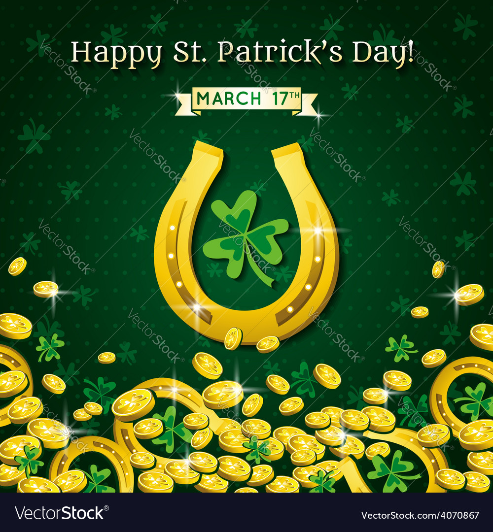 Background for st patricks day with horseshoe vector | Price: 3 Credit (USD $3)