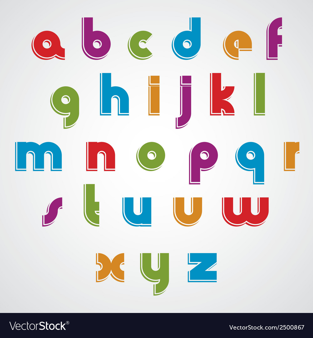 Colorful cartoon smooth font rounded lowercase vector | Price: 1 Credit (USD $1)