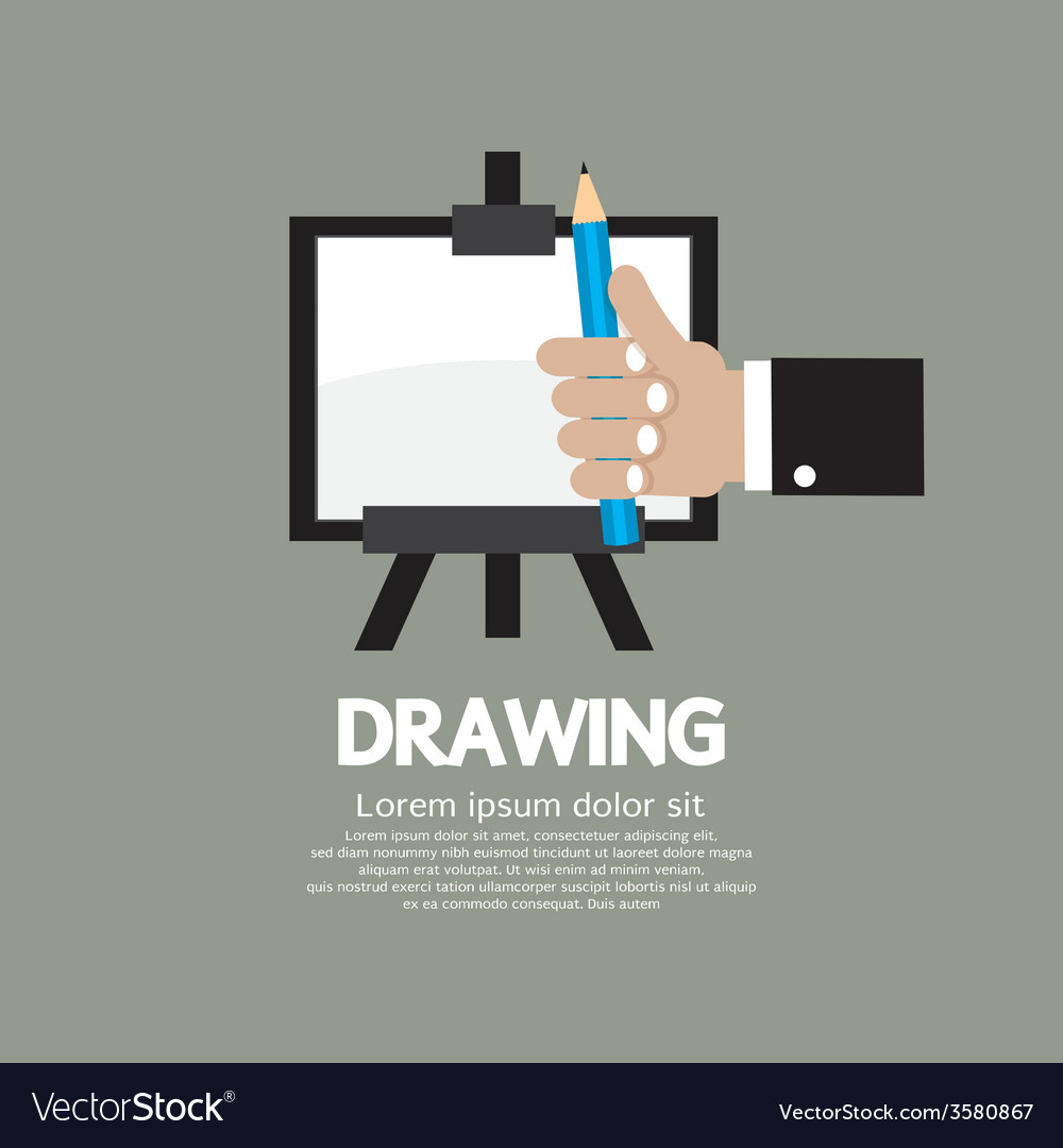 Drawing on easel with pencil vector | Price: 1 Credit (USD $1)