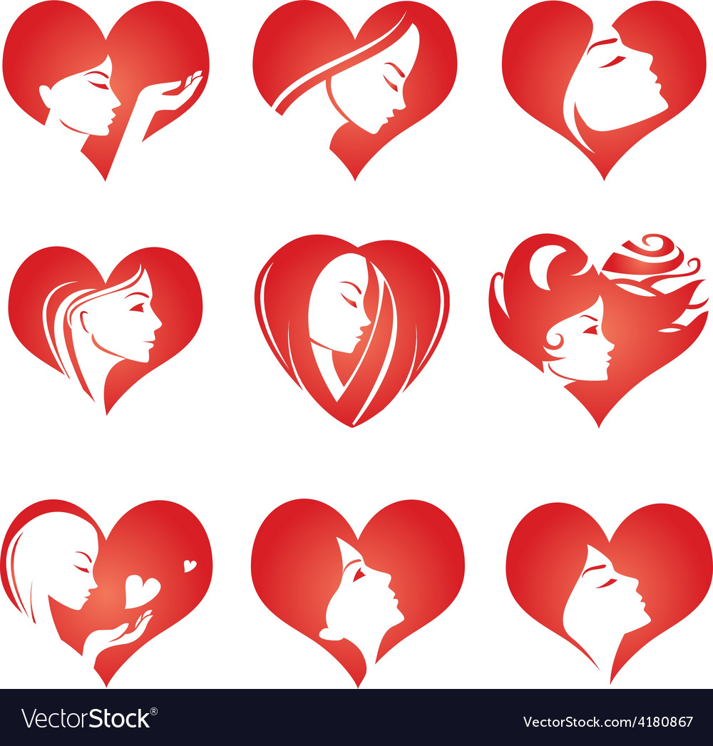Girls silhouette in hearts icons vector