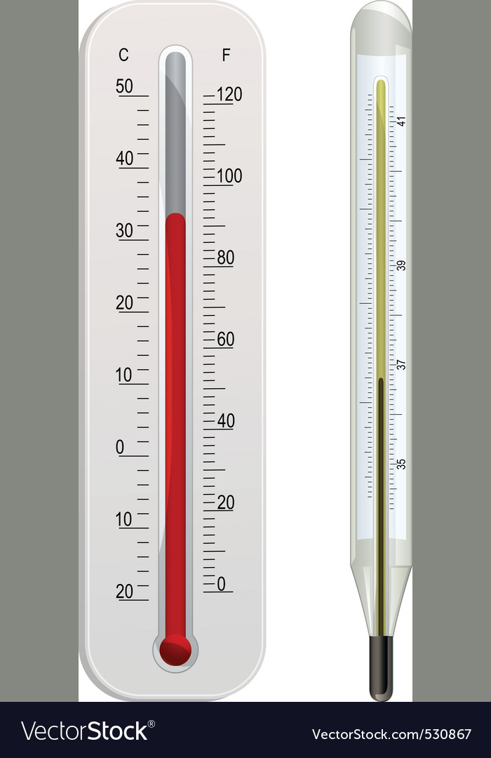 Glass weather thermometer and white plastic weathe vector | Price: 1 Credit (USD $1)