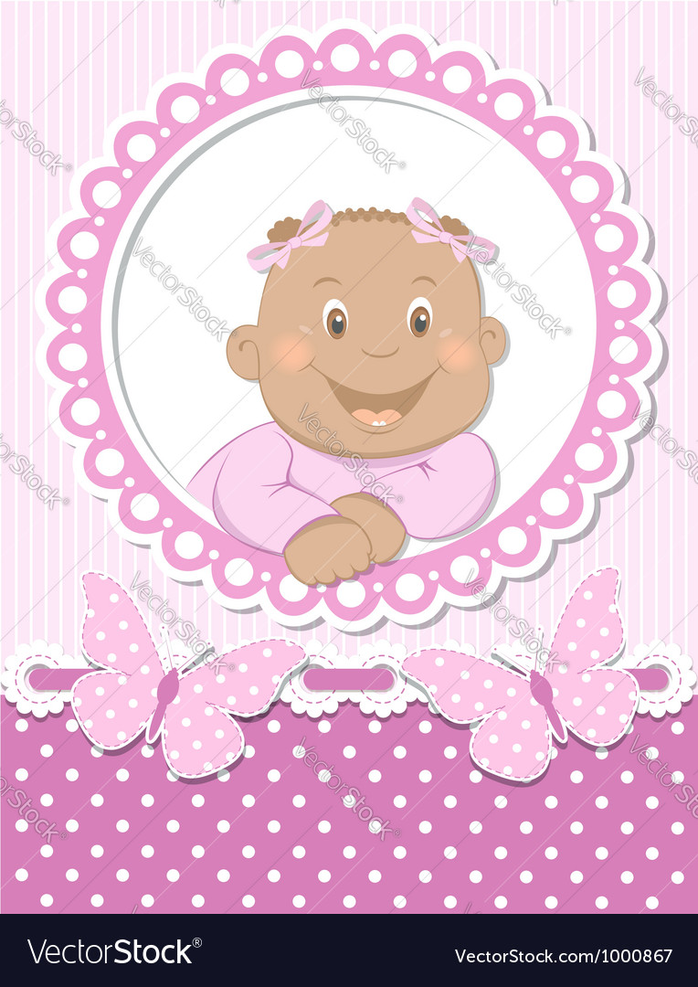 Happy african baby girl scrapbook pink frame vector | Price:  Credit (USD $)