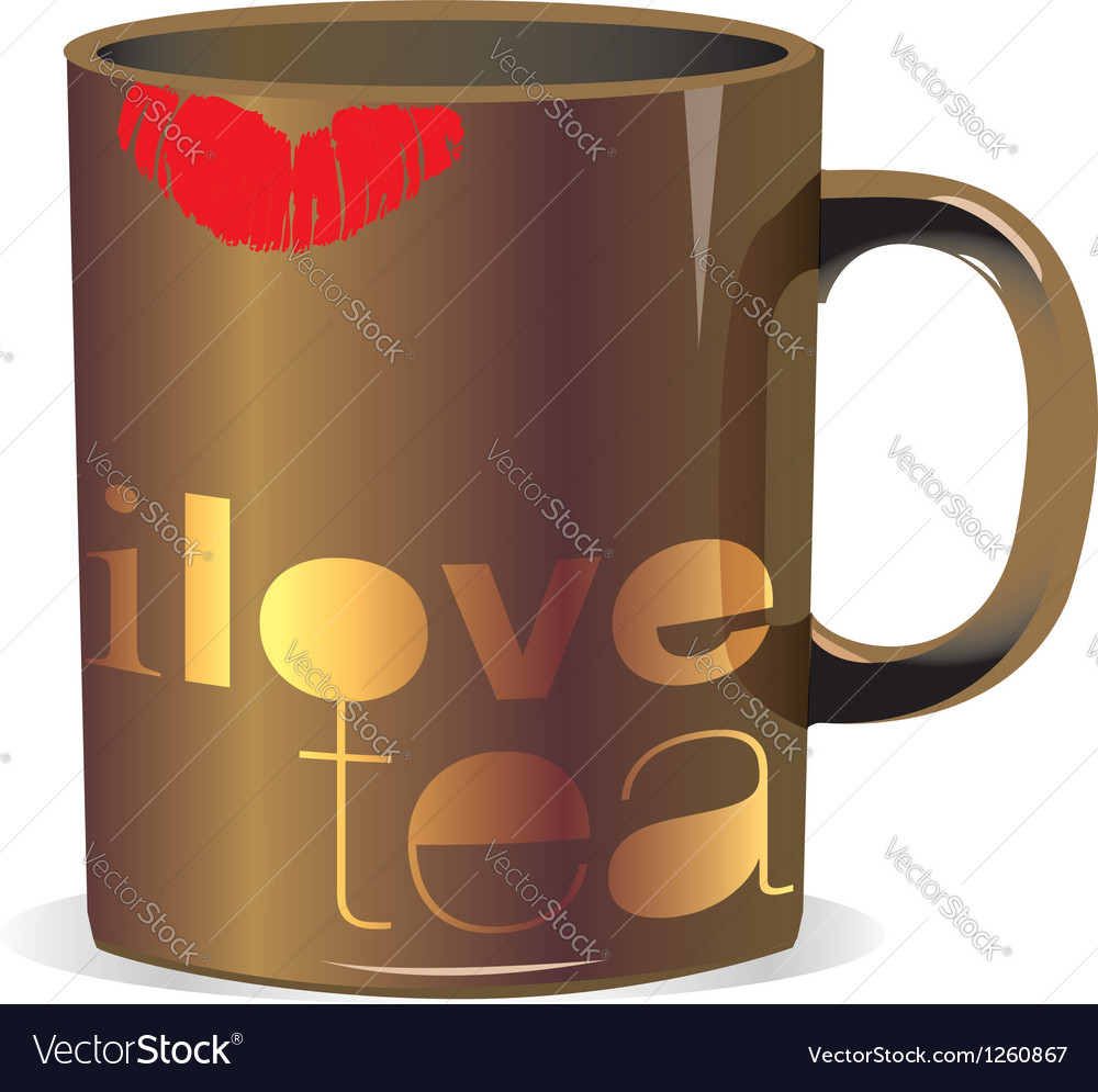 I love tea cup vector | Price: 1 Credit (USD $1)