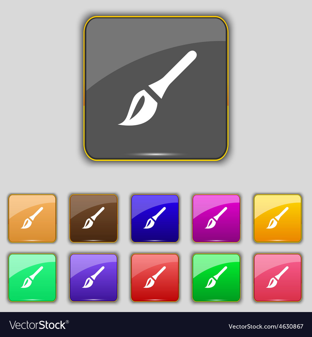 Paint brush artist icon sign set with eleven vector | Price: 1 Credit (USD $1)