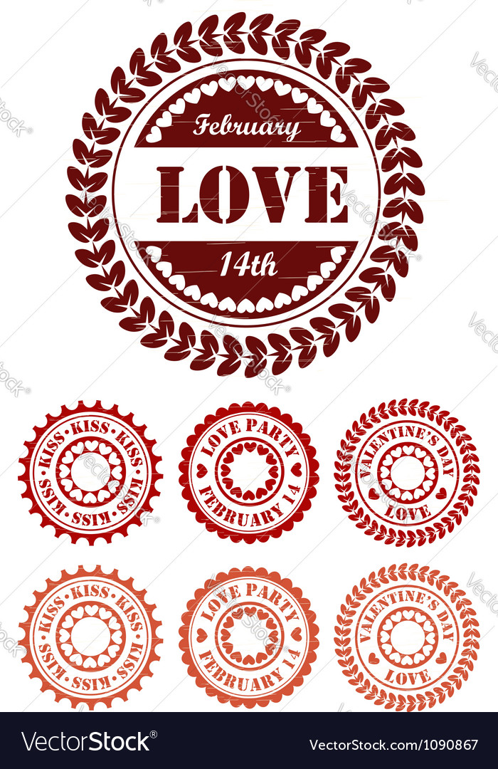 Red vintage stamps for valentine day vector | Price:  Credit (USD $)