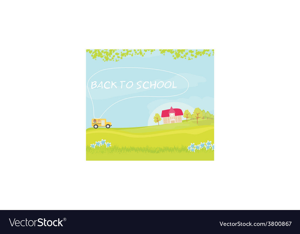 School bus heading to school with happy children vector | Price: 1 Credit (USD $1)