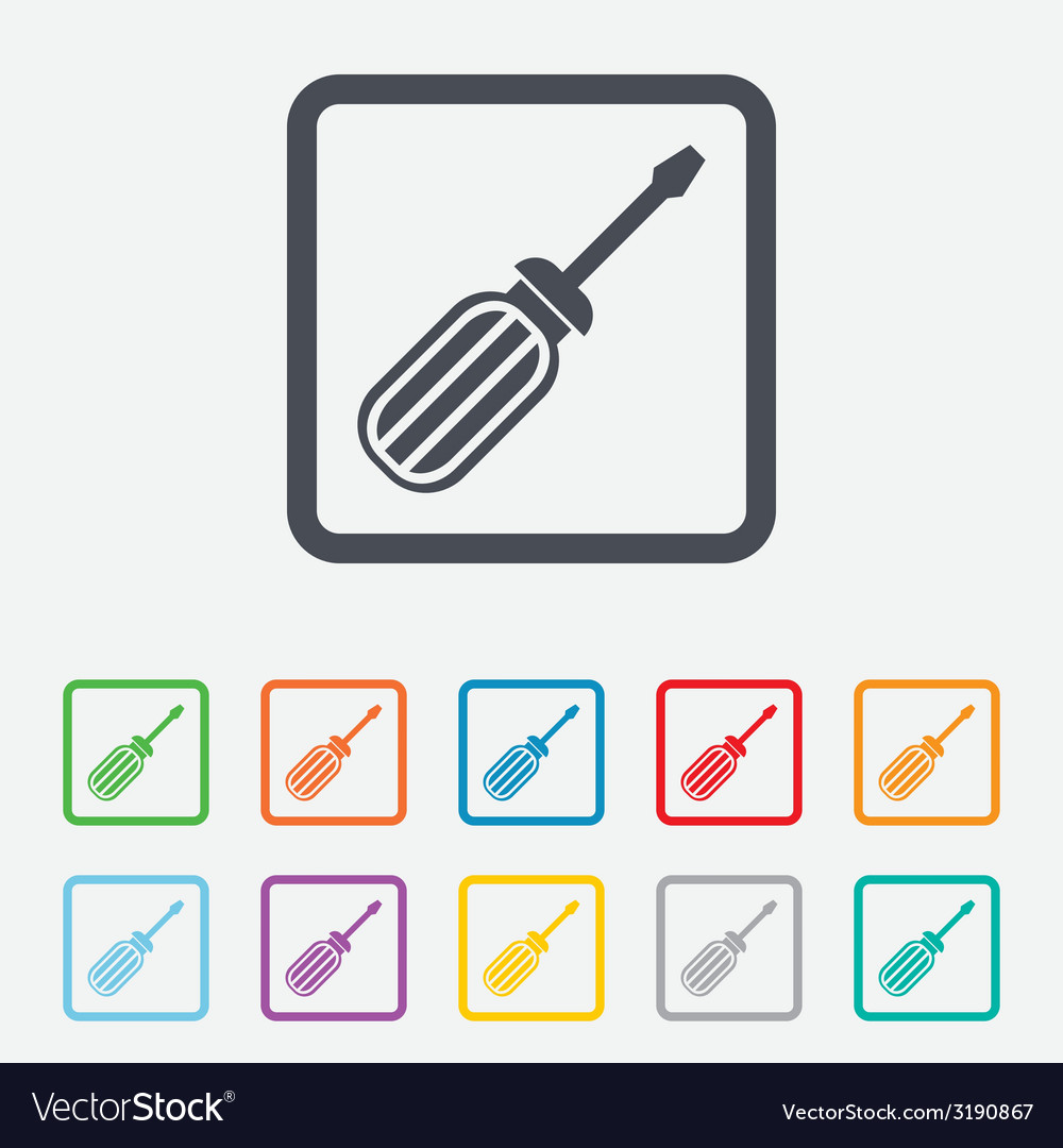 Screwdriver tool sign icon fix it symbol vector | Price: 1 Credit (USD $1)