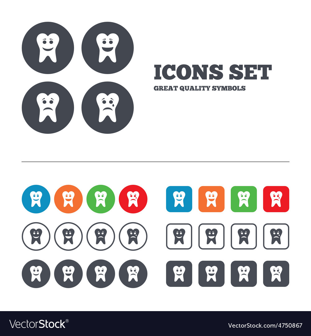 Tooth smile face icons happy sad cry vector   Price: 1 Credit (USD $1)