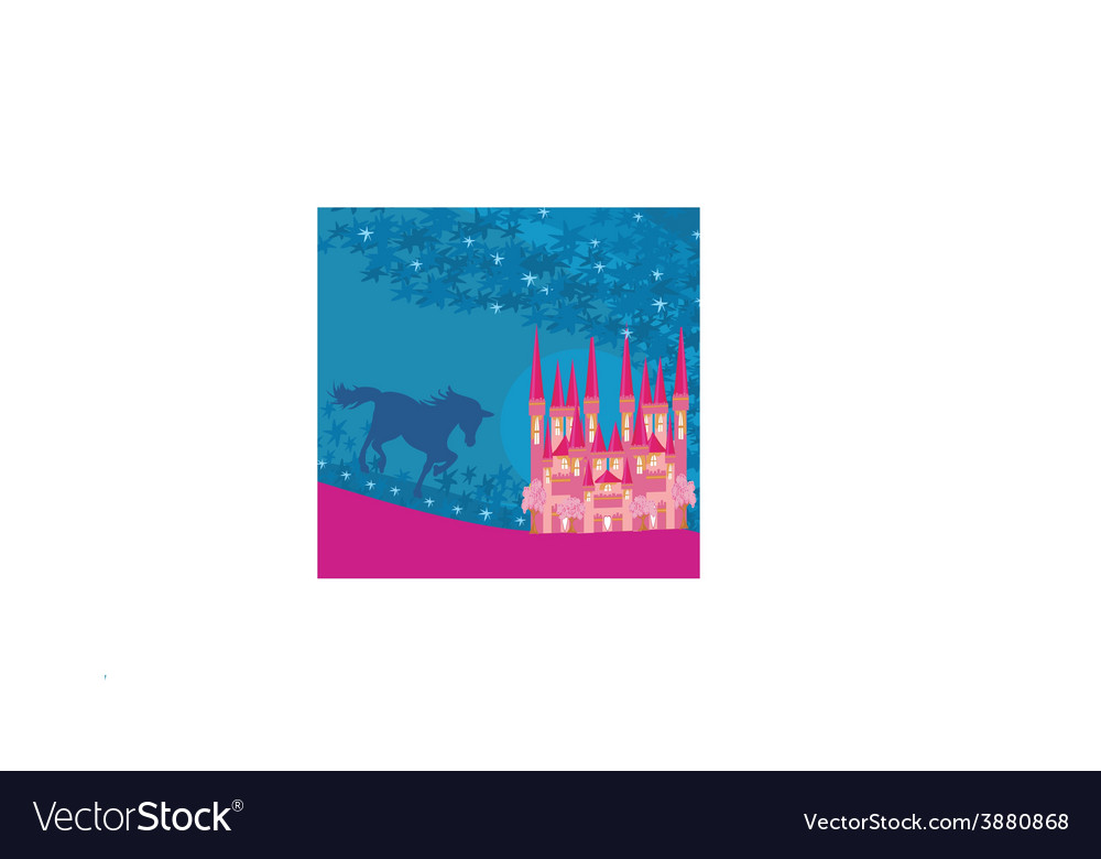 Abstract image of a pink castle and unicorn vector | Price: 1 Credit (USD $1)