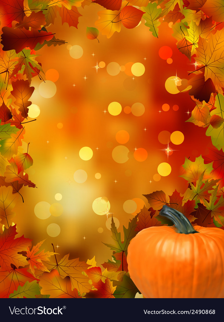 Autumn pumpkins and leaves eps 8 vector | Price: 1 Credit (USD $1)