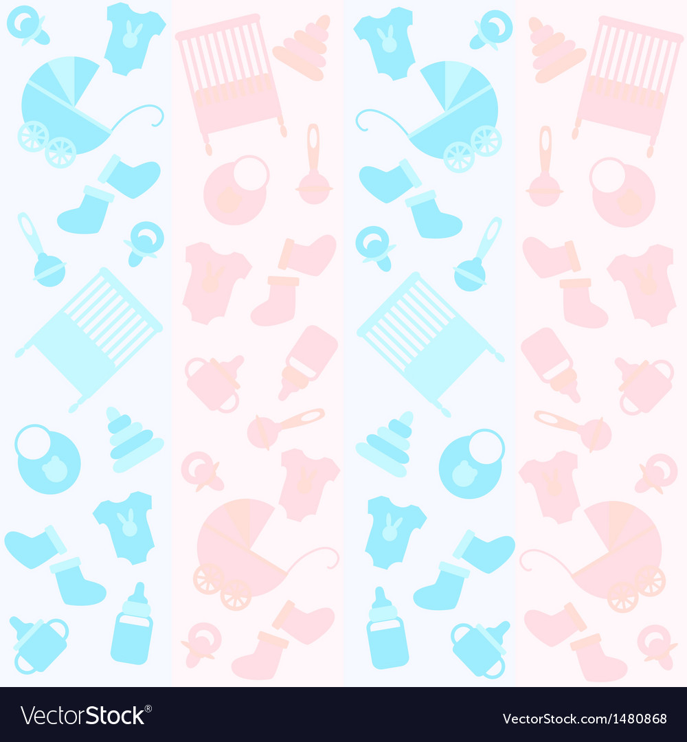 Background with icons for newborn vector | Price: 1 Credit (USD $1)