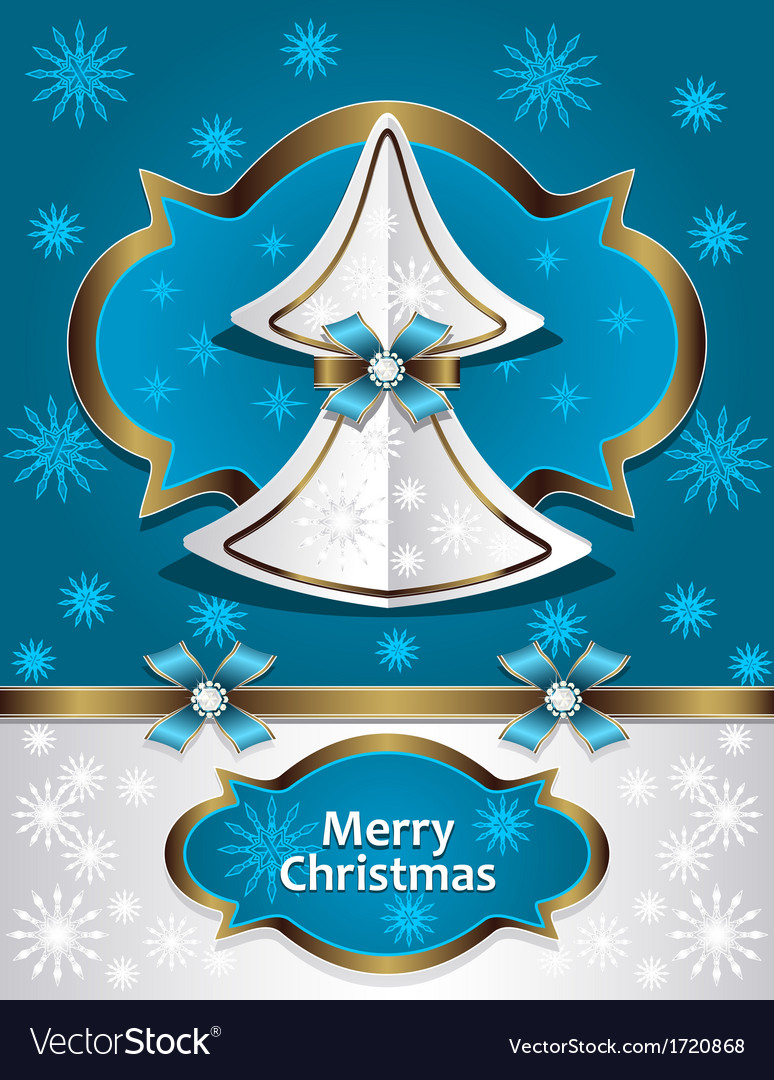 Christmas tree from paper with bow ribbon snowflak vector | Price: 1 Credit (USD $1)