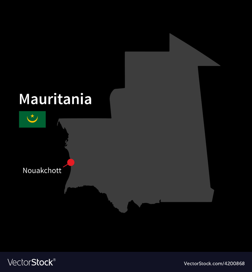 Detailed map of mauritania and capital city vector | Price: 1 Credit (USD $1)