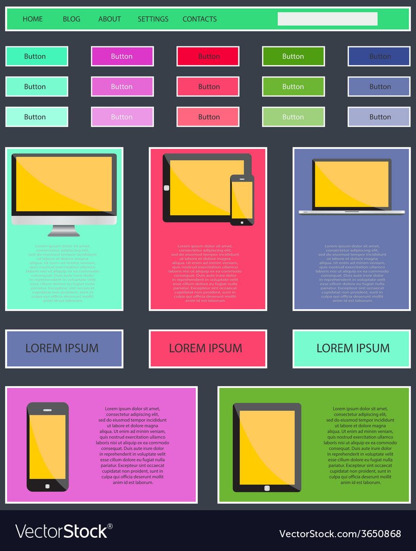 Digital mobile internet marketing responsive web vector | Price: 1 Credit (USD $1)