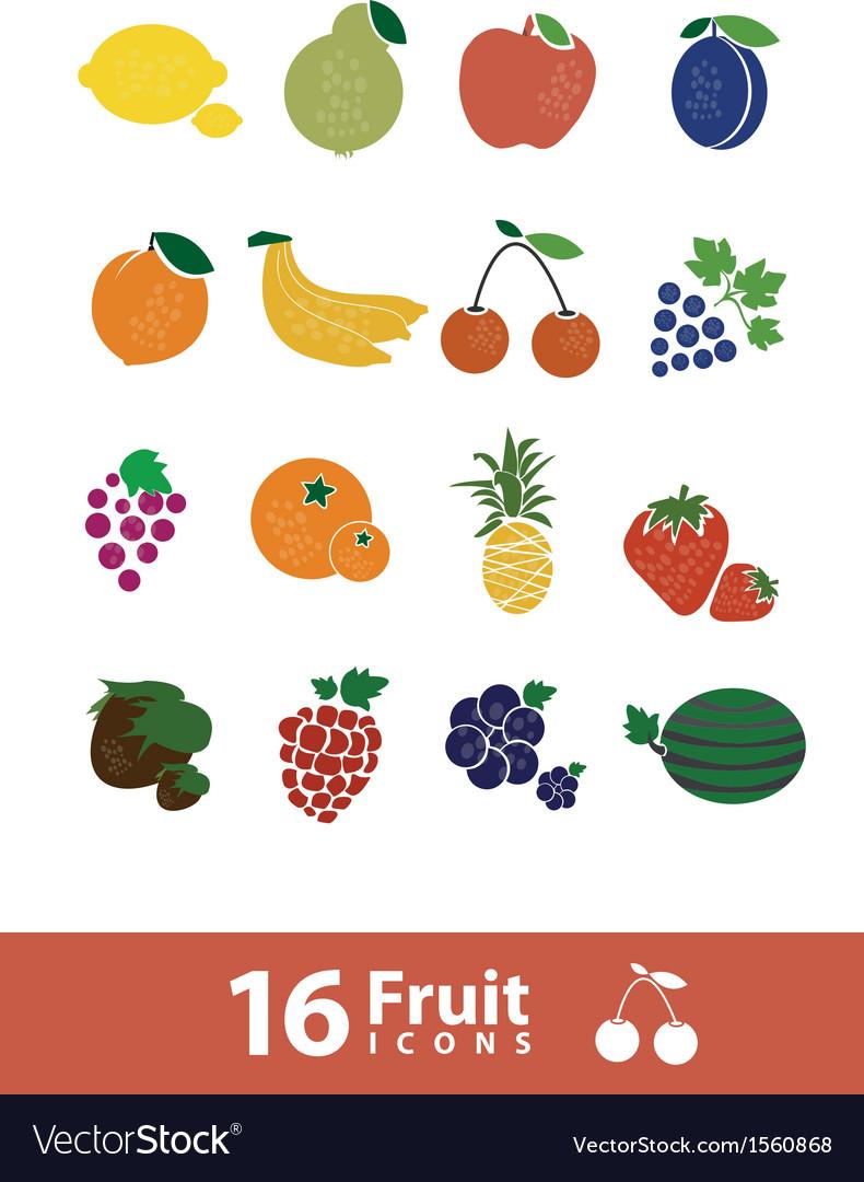 Fruit icon set vector | Price: 1 Credit (USD $1)