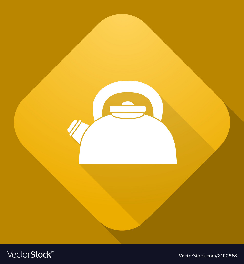 Icon of kettle with a long shadow vector | Price: 1 Credit (USD $1)