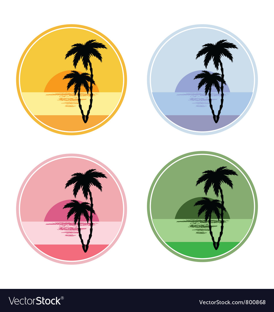 Icon with sun and palm trees vector | Price: 1 Credit (USD $1)