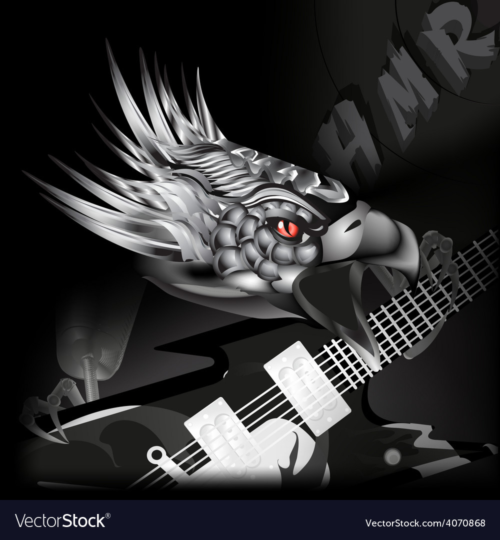 Iron eagle with a guitar in its claws vector | Price: 3 Credit (USD $3)