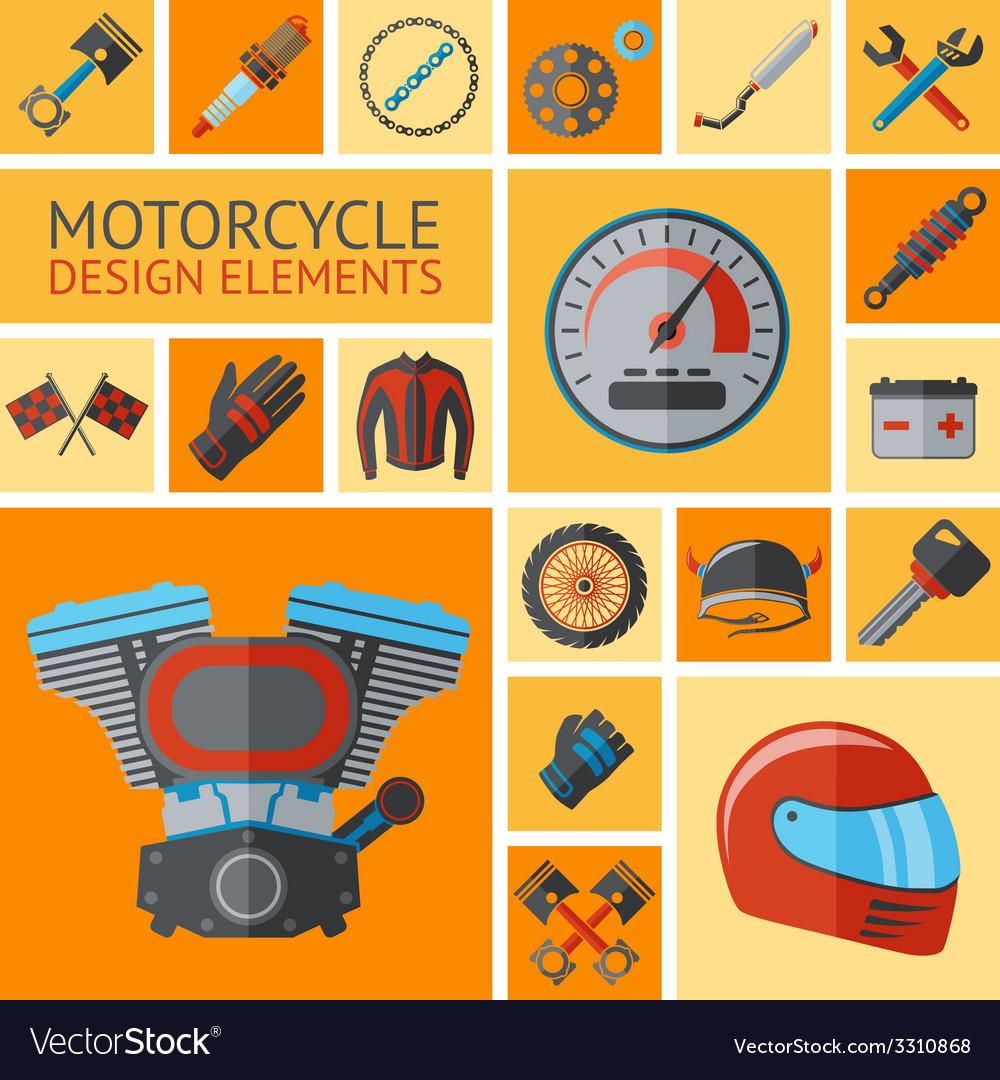 Motorcycle parts set vector | Price: 1 Credit (USD $1)