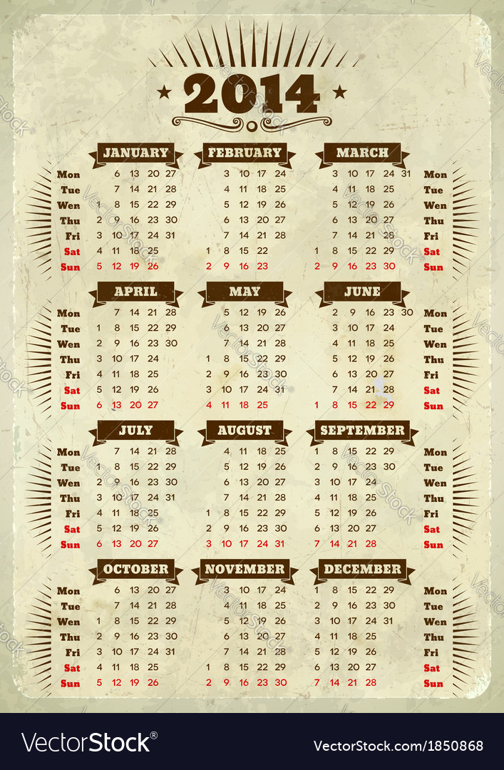 Vintage styled 2014 calendar vector | Price: 1 Credit (USD $1)