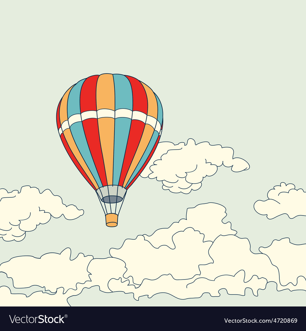 Air balloon flying in the clouds vector | Price: 1 Credit (USD $1)