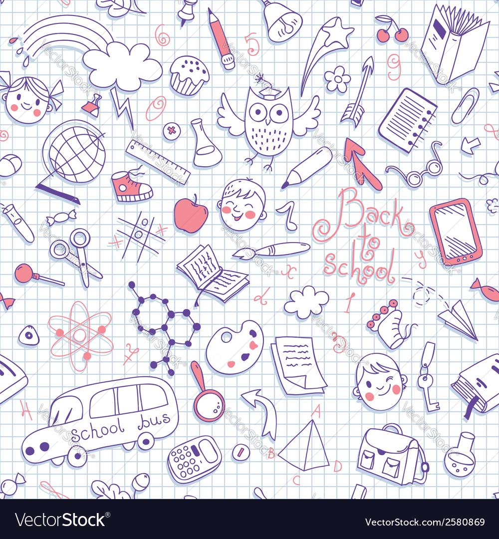 Back to school seamless pattern vector | Price: 1 Credit (USD $1)