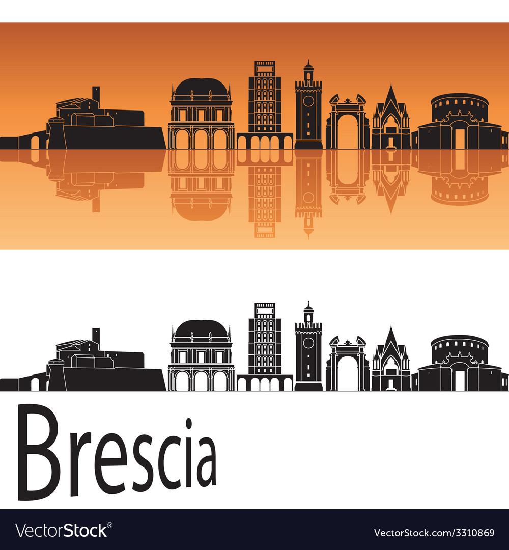 Brescia skyline in orange background vector | Price: 1 Credit (USD $1)