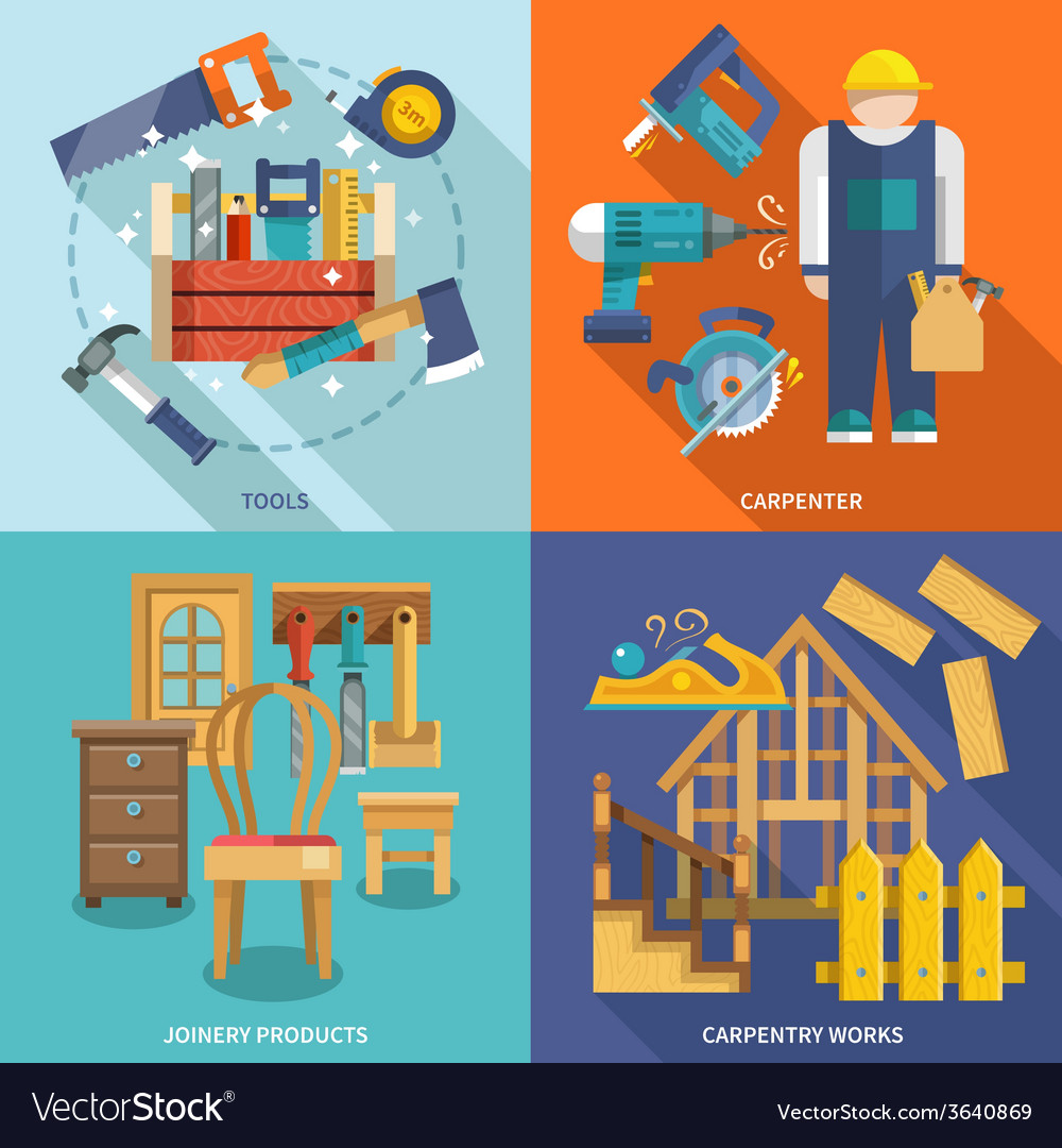 Carpentry flat set vector | Price: 1 Credit (USD $1)