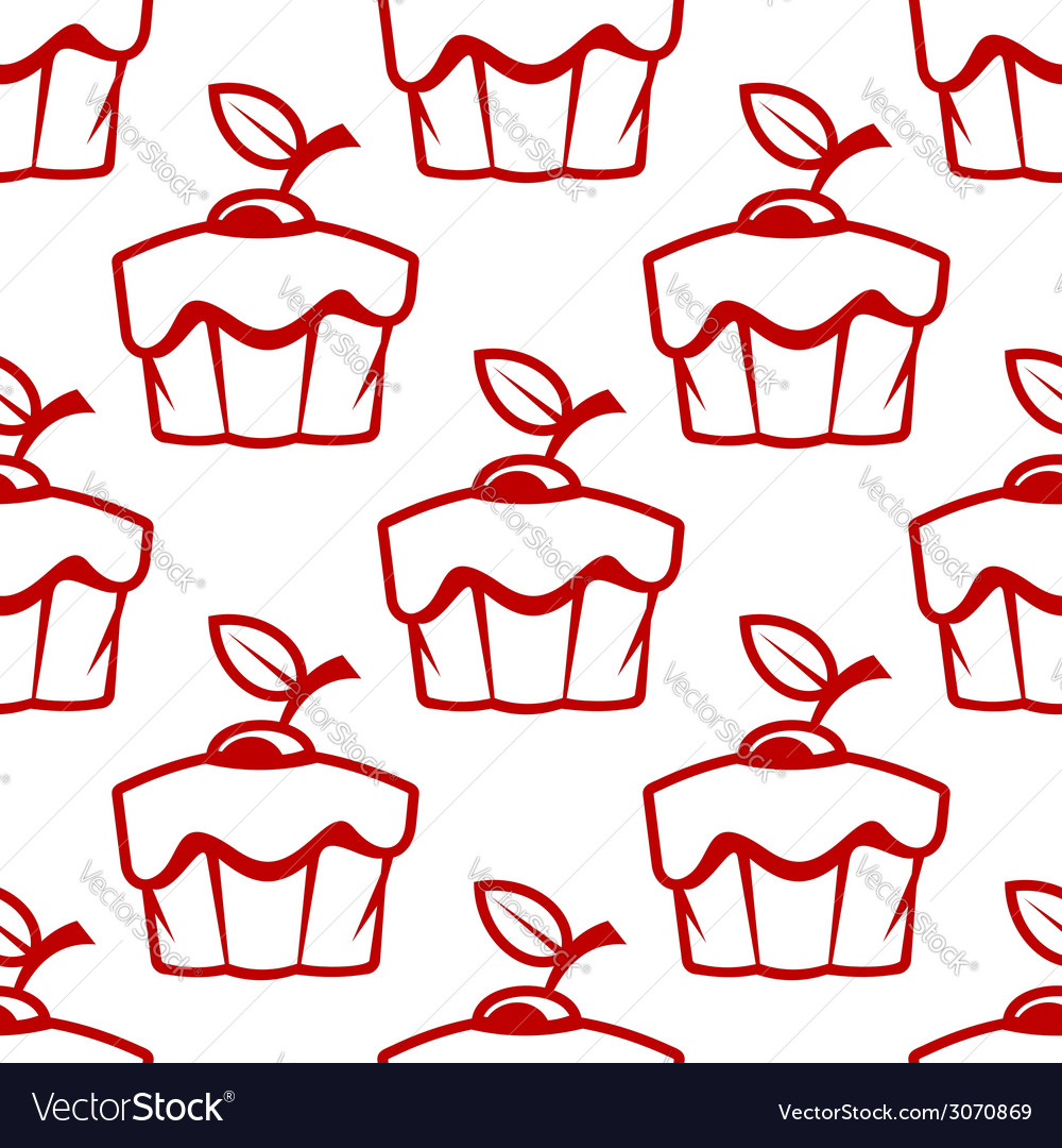 Cherry cupcake seamless pattern vector | Price: 1 Credit (USD $1)