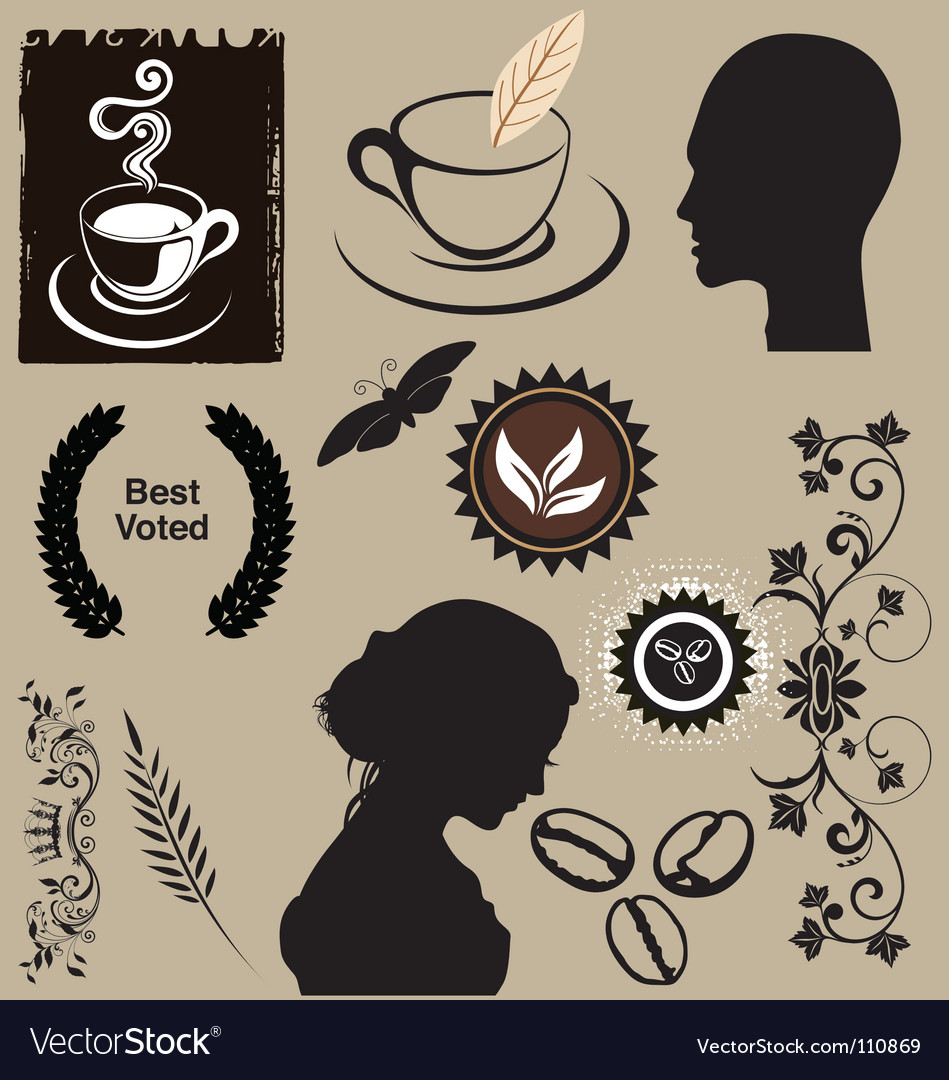 Coffee elements vector | Price: 1 Credit (USD $1)